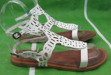 NEW ladies Summer White Womens Shoes open toe gladiator Flat Sandals Size 8