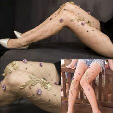 Women Tights Embroidery Flowers Stockings Fishnet Pantyhose Mesh
