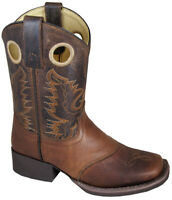 Brown Embossed/Brown Distress Leather Sq Toe Boot