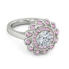 Fashion Silver Pink Diamond Engagement Wreath Ring Wedding Jewelry Size 8