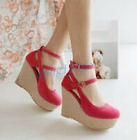 Women Platform Round Toe Ankle Strap High Heel Wedge Pumps Shoes Fahsion NEW