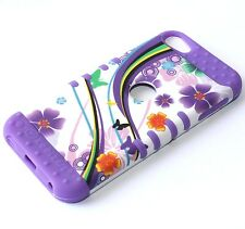 iPod Touch 5th & 6th Gen - HARD&SOFT RUBBER HIGH ARMOR SKIN CASE PURPLE FLOWERS