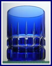 COBALT BLUE 2 OZ Shot Glass CUT TO CLEAR LEAD CRYSTAL Lausitzer Glas GERMANY