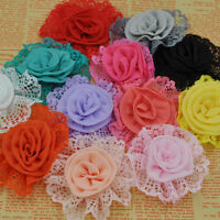 10PCS Large Trim Chiffon Ribbon Bows Flowers Appliques Wedding 85MM E261