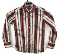 Diesel Mens Long Sleeve Shirt Floral Striped Red Brown Button Up Size Medium
