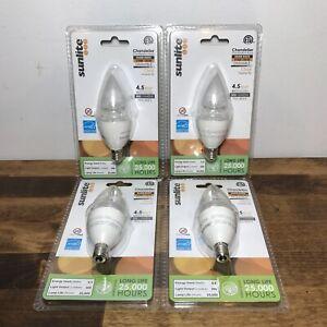 New SunLite Torpedo Tip LED Light Bulb 4.5W Chandelier Warm White 2700K Dimmable