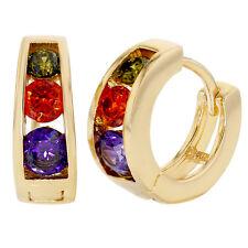 Gold Tone Multicolor Crystal Small Huggie Hoop Girl Earrings 9mm