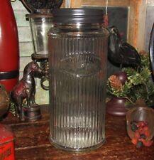 Primitive Antique Vtg Style Canister HOOSIER Ribbed Glass Bottle SUGAR Jar w/Lid
