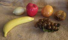 Lot of 6 Fruit Decoration Pear Bananna Grapes Lemon Apple Orange