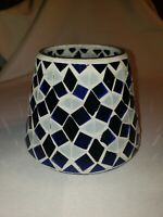 Yankee Candle Cobalt Blue & Light Blue Mosaic Tiles Glass Shade for Large Candle
