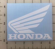 "Honda Wing Logo 5"" Wide White Vinyl Decal Sticker - BOGO"