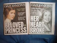 NEWSPAPERS TWO DAILY NEWS CARRIE FISHER DEC 28 DEBBIE REYNOLDS DEC 29