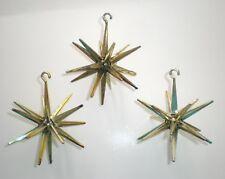 Lot of 3 VTG Bradford Hard Plastic Star Sputnik MCM Atomic Christmas Ornaments
