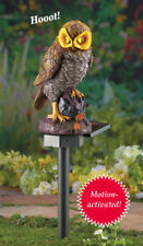 Solar Lighted Eyes & Hooting Sound Owl Garden Statue Stake - Keeps Pests Away!