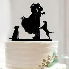Bride Groom Family 2 Dogs Pet Animals Veterinary Wedding Cake Topper Decoration