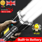 Super Bright 99000LM Torch LED Flashlight USB Rechargeable Camping Tactical lamp