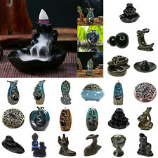 Ceramic Mountain Waterfall Smoke Backflow Incense Burner Censer Cones Holder Déc