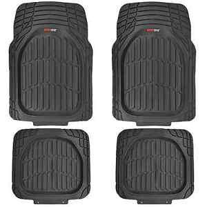FlexTough Shell Rubber Floor Mats Black Heavy Duty Deep Channels for Car
