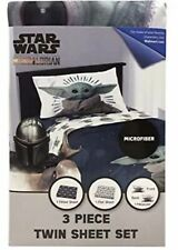 "CUTE! Mandalorian ""The Child"" BABY YODA Star Wars 3 Pc TWIN Sheet Set Brand New"