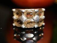Ausgefallener 925 Silber Ring Groß Breit Rauchquarz Vintage Retro 70er