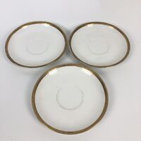 Flambeau China Co Limoges France Gold Rimmed Tea Saucer Plate Set of 3 5.5""