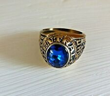Vintage College-Ring - 60er Jahre - USA - blauer Stein - vergoldet