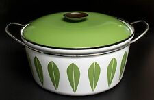Vintage MCM Cathrineholm White Enamel Avocado Green Lotus Dutch Oven 10 1/2""