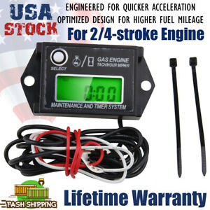 Waterproof Tiny Tach Digital Hour Meter Tachometer Resettable Job Timer Power