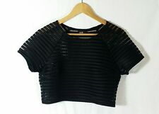 DOTTI Mesh Striped Crop Top with Bralette Singlet Size Small