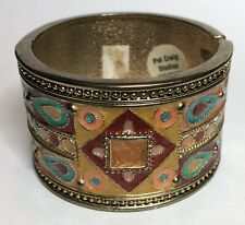 Tibetan Enameled Brass Hinged Cuff Bracelet/Bangle, Pat Craig Studios