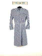 NEW J Crew Womens 0 Blue Striped Long Sleeve Shirtdress A Line Dress Collared
