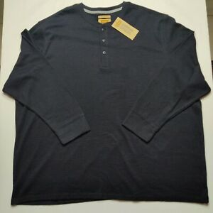 The Foundry Men's 4XL Black Long Sleeve Thermal Henley Shirt NEW