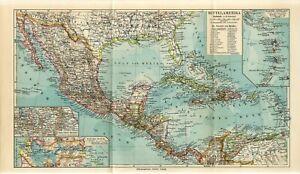 1900s CENTRAL AMERICA MEXICO PANAMA CANAL CUBA PUERTO RICO BAHAMAS USA FOLIO Map