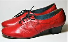 MOMA SHOES RED LEATHER LACE UP LOW HEEL OXFORD PUMP PERFORATED 38.5 ITALY $400