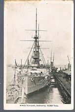GALE AND POLDEN POSTCARD  HMS EXMOUTH BATTLESHIP 14000 TONS C1910