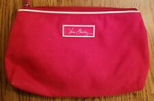 VERA BRADLEY LARGE RED SIGNATURE CANVAS ORGANIZER COSMETIC BAG CLUTCH SCHOOL BAG