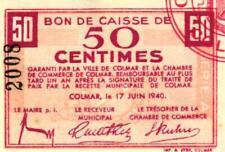 Notgeld WW2 Elsass Lothringen Colmar 50 Centimes - 50 Francs 1940 Set 4 Pcs. UNC