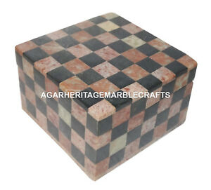 "4""x4""x2.5"" Marble Jewelry Box chess Sqaure Trinket Box Collectible Gift H1284"