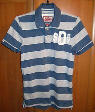 Men's SUPERDRY Vintage Double Blacklabel Polo Shirt Short Sleeve Striped Size S