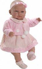 Preciosa muñeca bebe recien nacida Sara vestido chaqueta rosa, 52 cm vinilo