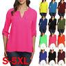 Womens 3/4 sleeve Chiffon Shirt Casual Blouse Top Ladies Work T-Shirts Tops 998