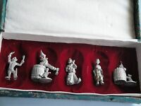 Set of 5 Vintage Clowns made of Pewter w/Box