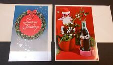 2 Vintage Coca Cola Christmas Cards from Bakersfield Bottling Co #1