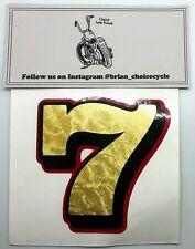 "2"" NUMBER DECAL- Gold Leaf/Black/Red fxr dyna sportster swingarm tank sticker"