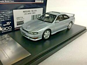po 1/43 HI STORY HS077SL NISSAN SILVIA S14 K'S AERO 1996 SILVER model car