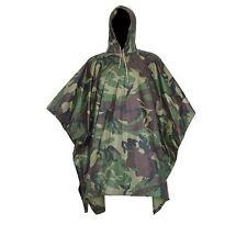 1X Military Woodland Camo Ripstop Wet Weather Rain Poncho Unisex Camping Hiking