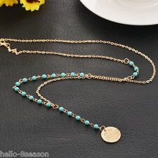 Fashion Womens Europe Style Long Chain Necklace Bead Natural Turquoise 70cm