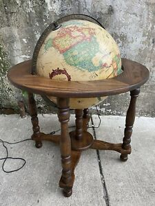 1980s Vintage Denmark Scam-Globe Illuminated World Floor Globe Harig Walnut 16""