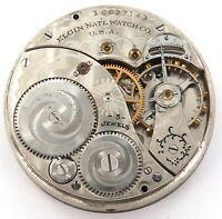 1912 ELGIN 12S 15J DOUBLE ROLLER MENS POCKET MOVEMENT.