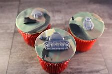 Army Cupcake Toppers Military Camouflage with Tank, Boots, Helmet and Grenade